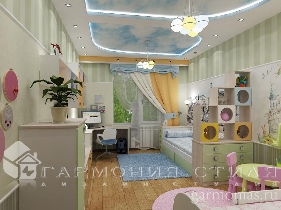 Дизайн интерьера квартиры : Детская для мальчика и девочки