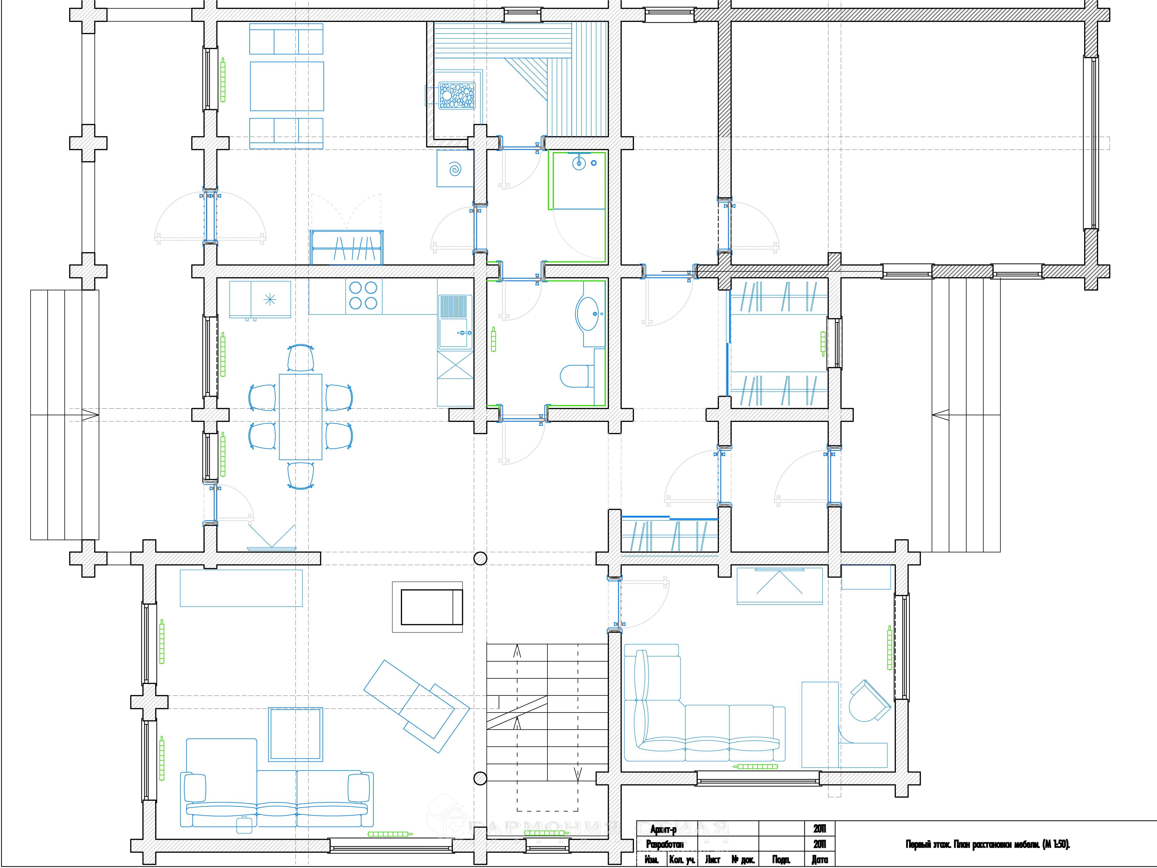 Дизайн интерьера коттеджа : План 1-го этажа с расстановкой мебели