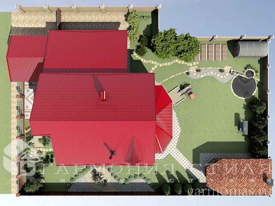 Ландшафтный дизайн территории загородного дома: вид сверху